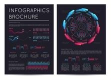 Biznesowa infographics broszurka z różnorodnymi mapami ilustracji
