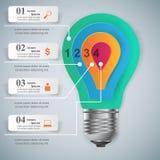 Biznesowa Infographics origami stylu wektoru ilustracja Żarówka ic Zdjęcia Royalty Free