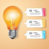 Biznesowa Infographics origami stylu wektoru ilustracja Żarówka ic Obraz Stock
