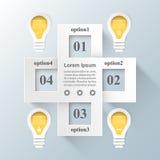 Biznesowa Infographics origami stylu wektoru ilustracja Żarówka ic Zdjęcie Royalty Free