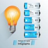 Biznesowa Infographics origami stylu wektoru ilustracja Żarówka ic Fotografia Royalty Free