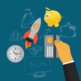 Biznesowa inwestycja, płaska wektorowa ilustracja, apps, sztandar, nakreślenie Zdjęcia Royalty Free