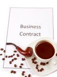 biznesowa kawy kontrakta filiżanki drymba Zdjęcia Stock