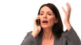 Biznesowa kobieta dostaje nerwowy na telefonie zdjęcie wideo
