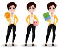 Biznesowa kobieta, freelancer, bankowiec Piękna dama w przypadkowych ubraniach royalty ilustracja