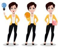 Biznesowa kobieta, freelancer, bankowiec Piękna dama w przypadkowych ubraniach ilustracja wektor