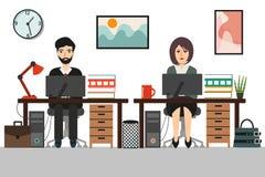 Biznesowa kobieta i biznesowy mężczyzna przy pracować biurowego biurko royalty ilustracja