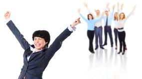 Biznesowa kobieta i jej drużyna zdjęcie royalty free