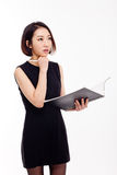 Biznesowa kobieta i nutowa książka Fotografia Royalty Free