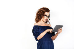 Biznesowa kobieta i pastylka Fotografia Stock