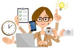 Biznesowa kobieta jest ubranym kostium wykonywać multitasking ilustracji