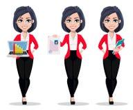 Biznesowa kobieta, kierownik, bankowiec, set trzy pozy royalty ilustracja
