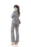 Biznesowa kobieta kontempluje zdjęcia royalty free