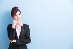 Biznesowa kobieta myśleć coś Fotografia Royalty Free