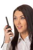 Biznesowa kobieta na talkie obraz stock