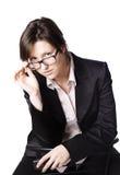 Biznesowa kobieta. Odizolowywający nad białym tłem Obraz Royalty Free