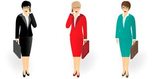 Biznesowa kobieta opowiada na telefonie komórkowym w długim z teczką royalty ilustracja