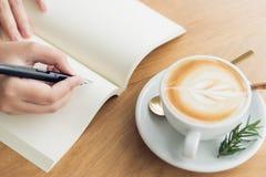 Biznesowa kobieta, podróżnik, artykułu pisarski chwyt pióro pisać tekscie w pustej książce Nagrywa, memorize, memorize lub nagryw zdjęcia stock