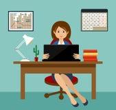 Biznesowa kobieta pracuje przy desktop officemates ilustracji