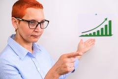 Biznesowa kobieta prowadzi biznesowego szkolenie Ludzie biznesu ma na prezentaci przy biurem Biznesmen przedstawia na desce zdjęcia stock