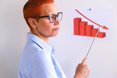 Biznesowa kobieta prowadzi biznesowego szkolenie Ludzie biznesu ma na prezentaci przy biurem Biznesmen przedstawia na desce zdjęcie royalty free