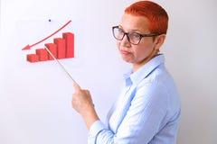 Biznesowa kobieta prowadzi biznesowego szkolenie Ludzie biznesu ma na prezentaci przy biurem Biznesmen przedstawia na desce zdjęcie stock