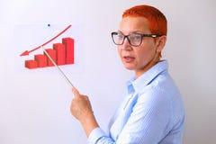 Biznesowa kobieta prowadzi biznesowego szkolenie Ludzie biznesu ma na prezentaci przy biurem Biznesmen przedstawia na desce obraz royalty free