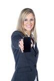 Biznesowa kobieta przedstawiał telefon komórkowego Zdjęcie Royalty Free