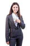 Biznesowa kobieta putting/brać dolara Zdjęcie Stock
