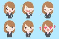 Biznesowa kobieta robi emocjom ilustracja wektor