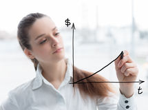 Biznesowa kobieta rysuje pojęcie diagram Obrazy Stock
