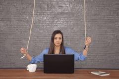 Biznesowa kobieta sterująca z góry fotografia stock