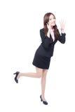 Biznesowa kobieta stoi krzyczeć Fotografia Royalty Free