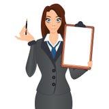 Biznesowa kobieta trzyma pióro podpisywać kontrakt Zdjęcie Royalty Free