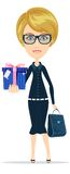 Biznesowa kobieta trzyma prezent dla ciebie, wektor Fotografia Royalty Free