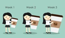 Biznesowa kobieta trzyma różnego rozmiar filiżanki również zwrócić corel ilustracji wektora ilustracji
