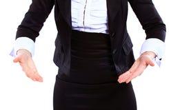 Biznesowa kobieta trzyma świat Zdjęcie Stock