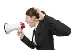 Biznesowa kobieta Używa megafon Zdjęcie Royalty Free