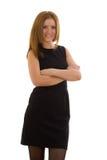 Biznesowa kobieta w czerni sukni Obraz Royalty Free