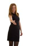 Biznesowa kobieta w czerni sukni Fotografia Royalty Free