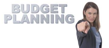 Biznesowa kobieta wskazuje teksta budżeta planowanie obraz royalty free