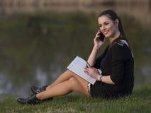 Biznesowa kobieta z agendą Obrazy Stock