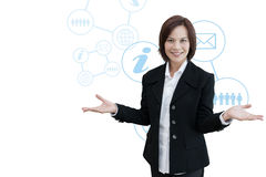 Biznesowa kobieta z biznesową ewidencyjną grafiką Obrazy Royalty Free