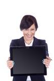 Biznesowa kobieta z blackboard Obrazy Stock