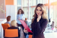 Biznesowa kobieta z falcówki drużyną i stać kojarzyć w parę działanie w pokoju konferencyjnym przy biurem Zdjęcia Royalty Free