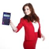 Biznesowa kobieta z kalkulatorem Fotografia Royalty Free