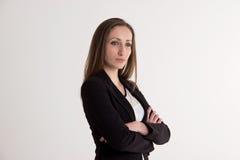Biznesowa kobieta z Krzyżować rękami Odizolowywać na Białym tle Obraz Stock