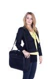Biznesowa kobieta z laptop torbą Zdjęcia Stock