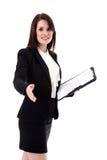 Biznesowa kobieta z notepad Fotografia Royalty Free