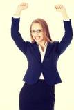 Biznesowa kobieta z ona ręki up odizolowywający na bielu fotografia royalty free